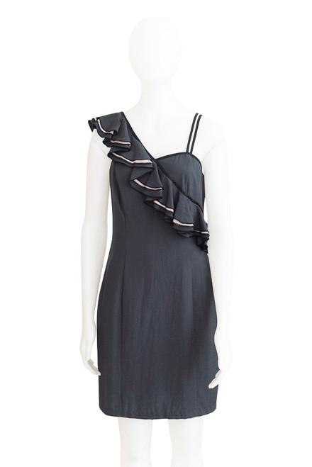 Preloved Cue One Shoulder Dress in Grey