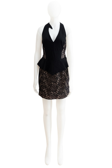 Yeojin Bae Black Wool and Lace Peplum Dress Preloved