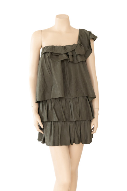 Mucci & Me Khaki One Shoulder Ruffle Dress Preloved