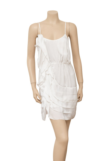 Cooper St White Satin Ruffle Dress Preloved