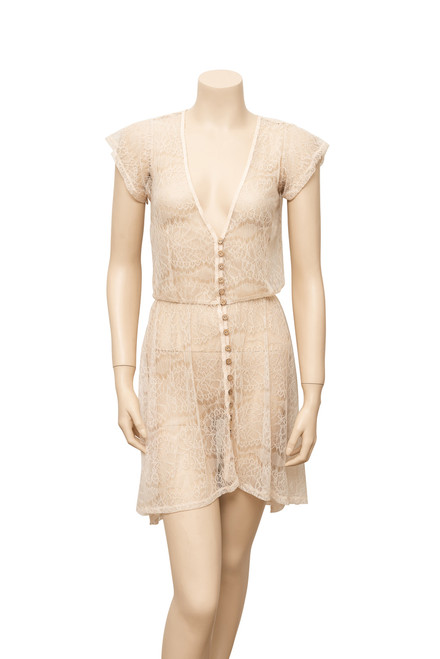 Sheer Cream Lace Dress Preloved - Size XS