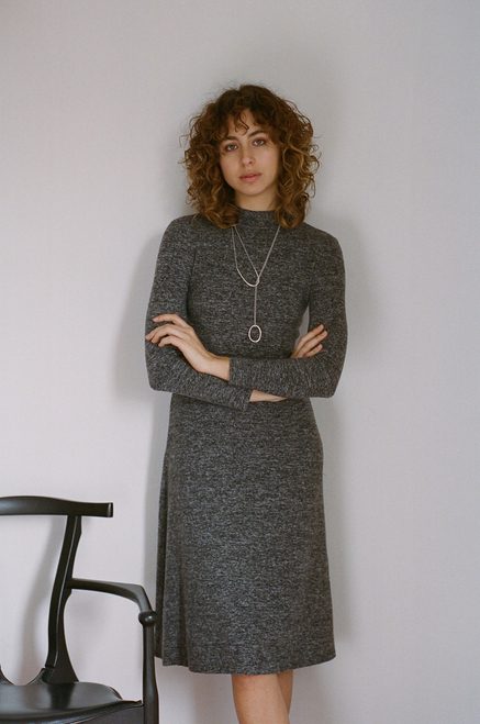 Cossac Dark Grey Long Sleeve Knit Dress