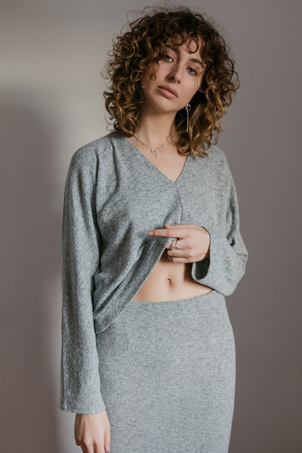 Cossac Grey Marle Knit Top