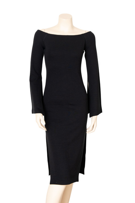 Cossac Black Off Shoulder Long Sleeve Fitted Dress