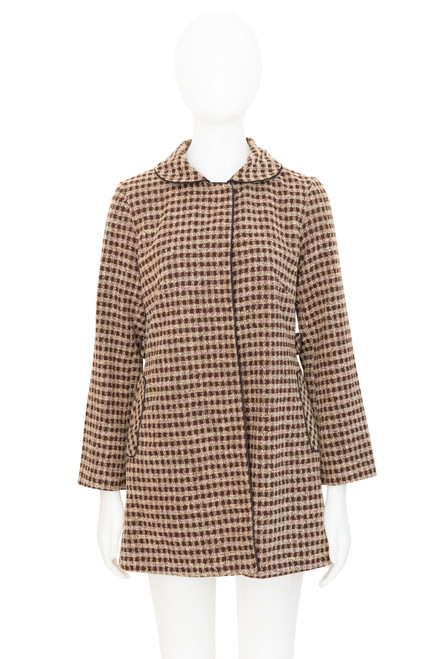 Veeko Vintage Look Brown Checked Coat