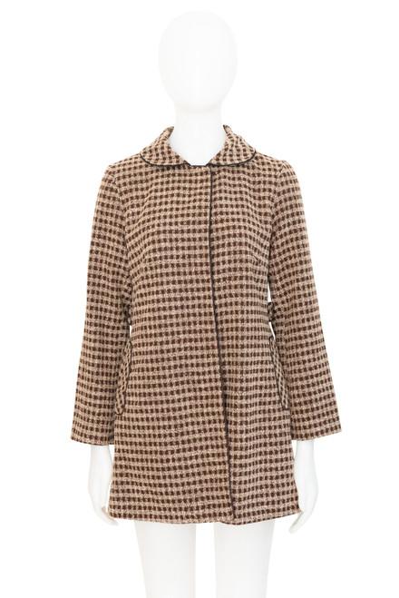 Veeko Vintage Look Brown Checked Coat