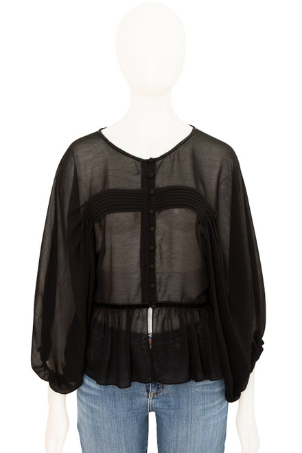 Sass Sheer Black Peplum Top Secondhand