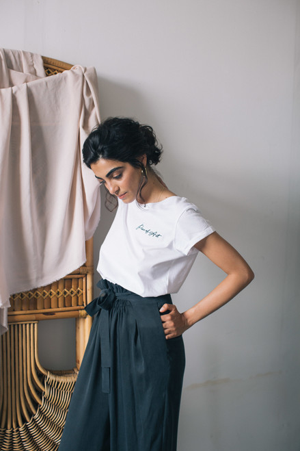 Cossac Embroidered White Organic Cotton tee