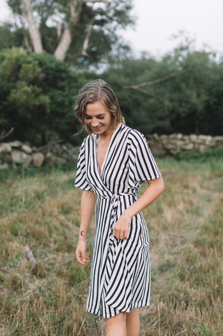 Conrado Navy and White Striped Dress