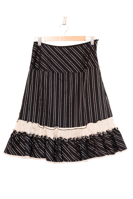 Anthea Crawford Black and Silver Striped Boho Skirt Preloved