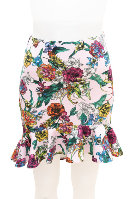 ASOS Pink Floral Peplum Skirt Preloved