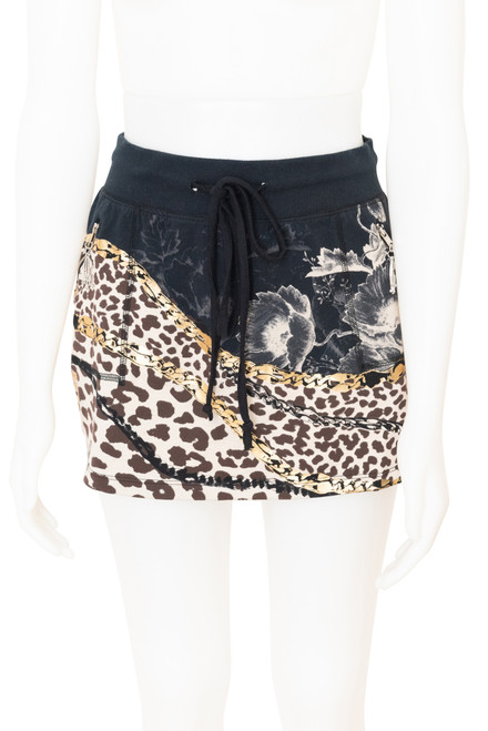 Christian Audigier Navy Animal Print Knit Mini Skirt