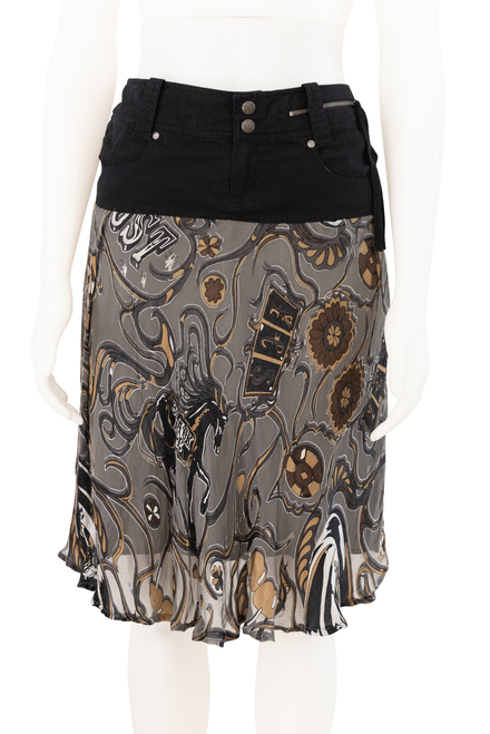 Diesel Secondhand Grey Silk Blend Skirt