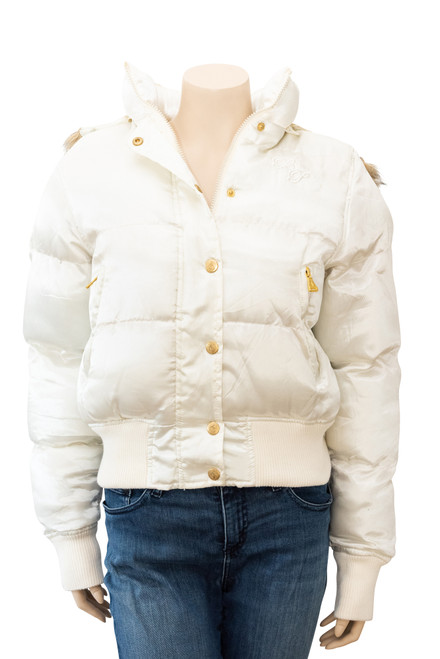 Baby Phat White Satin Puffer Jacket Preowned