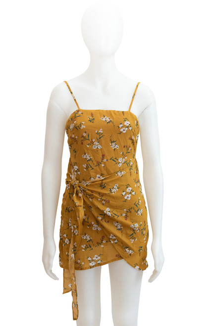 Who I am Mustard Yellow Floral Minidress
