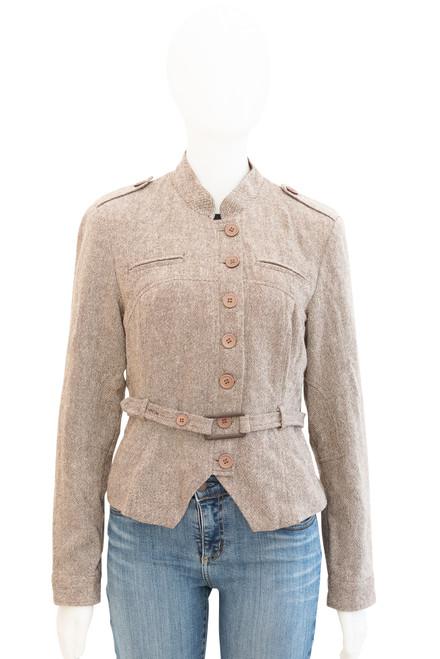 Brown Tweed Wool Blend Belted Jacket Preloved - Size 42 (approx 14)