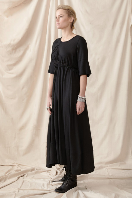 Quillan Black Organic Cotton Hemp Dress