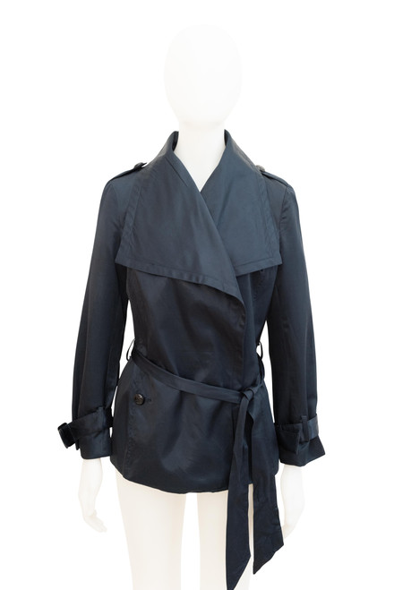 Anise Midnight Blue Satin Trench Coat Preowned