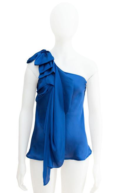 Midnight blue satin one shoulder top preloved