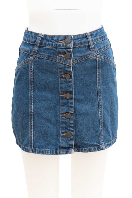 Factorie Secondhand Button Front Denim Mini Skirt
