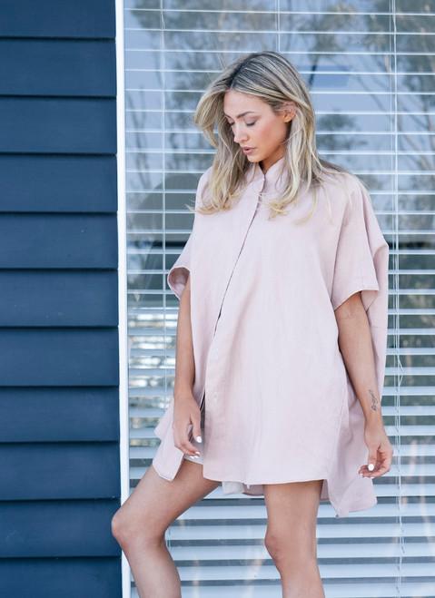 Maggie The Label Lena Pink Linen Shirt in Sustainable Fabric
