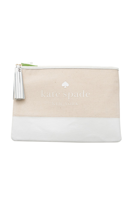 Kate Spade Natural Canvas Tassel Clutch Bag