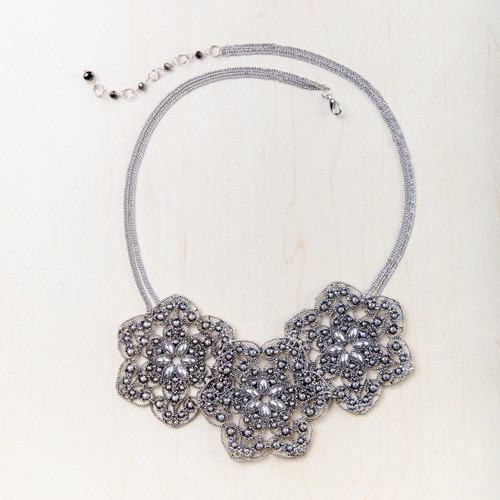 Silver Tone Floral Bib Necklace by Starfish Project Fair Trade