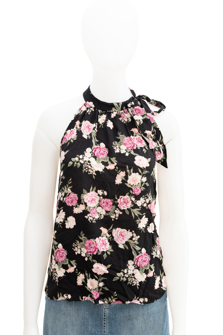Forever 21 Floral High Neck Top Preowned