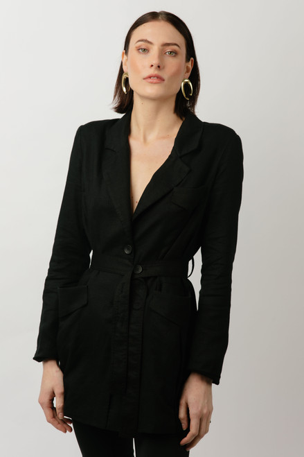 Alkam Black Longline Belted Jacket
