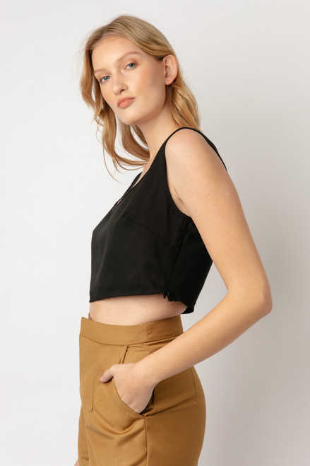 Alexa Tencel Black Crop Top