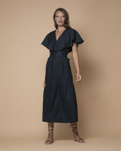 Indecisive Chicago Black Linen Dress