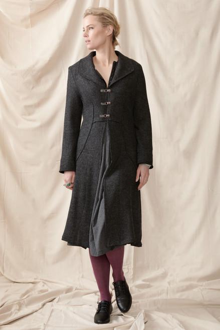 Eugenia Grey Woolen Coat Front View
