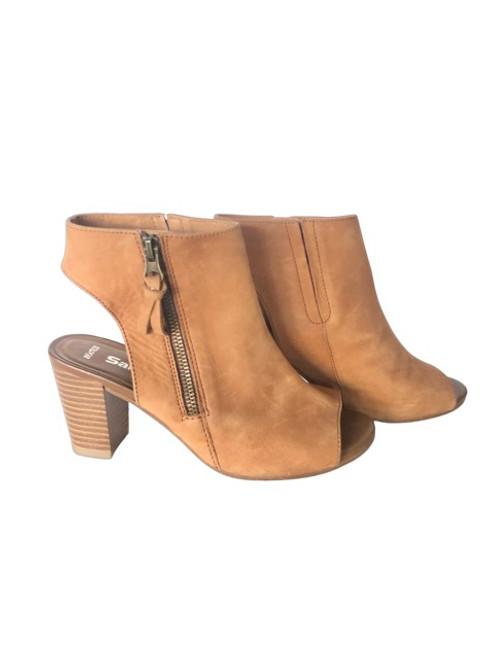 Sandler Tan Nubuck Leather Peep Toe Shoes Preloved