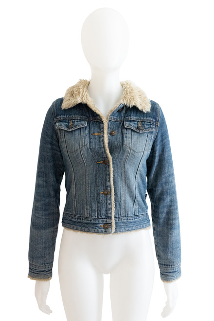 J Lo by Jennifer Lopez Faux Fur Trimmed Denim Jacket