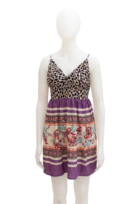 Tigerlily Elena Leopard and Purple Cotton Dress Preloved