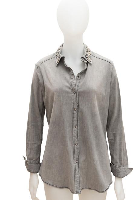 Armani Jeans Womens Grey Chambray Long Sleeve Shirt Preloved