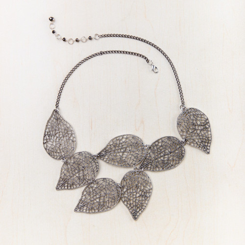 Fair Trade Silver Tone Antique Look Leaf Bib Necklace
