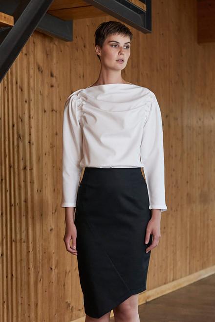 Vestiarium Black Asymmetrical Wool Skirt