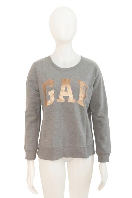 Gap Grey Fleecy Sweatshirt with Gold Lettering