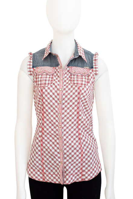 Miss Sixty Red Gingham and Denim Rockabilly Style Shirt Preloved