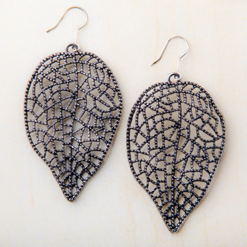 Silver Tone Antique Look Leaf Earrings Starfish Project Fair Trade