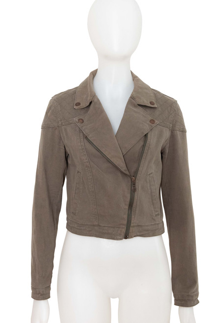FN Denim Khaki Cropped Biker Style Jacket Preloved