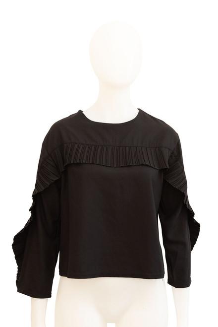 SJ Lauren Black Ruffle Sleeve Preloved Top