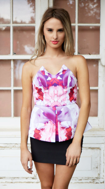 Two Sisters Pink and White Floral  Strapless Peplum Top