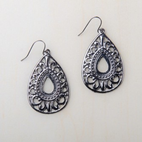 Francina Gunmetal Teardrop Earrings Starfish Project Fair Trade