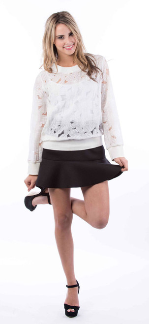 Cream Sheer Floral Cotton Bomber Style Top by Two Sisters