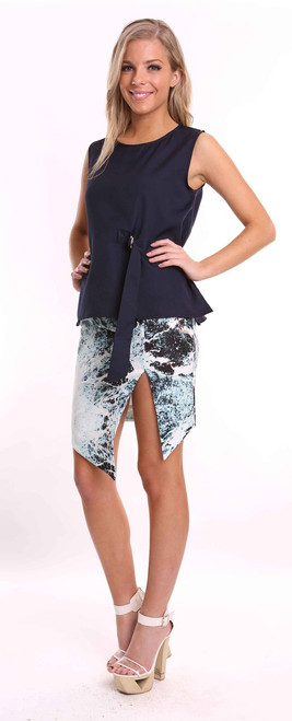 Navy Blue Buckle Top by Two Sisters