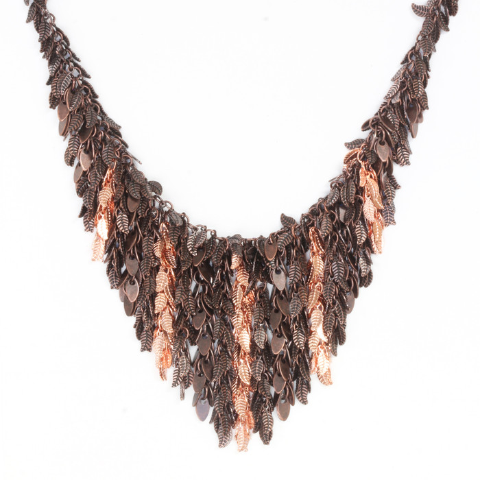Copper Cleopatra Leaf Necklace