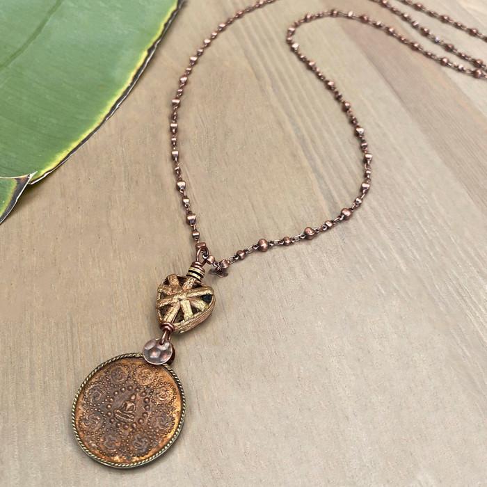 Copper Buddha on Adjustable Chain