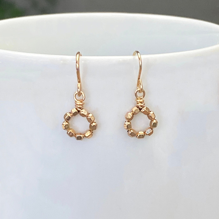 Tiny Gold Wheel Earrings